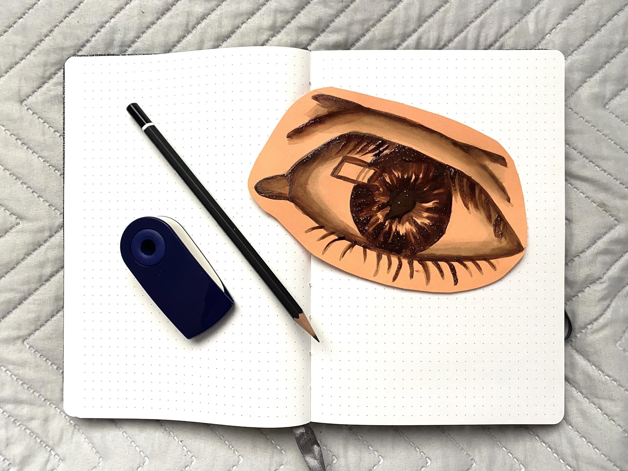 painting of an eye and a notebook