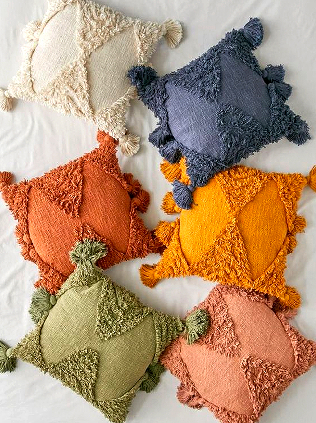 a group of cushions