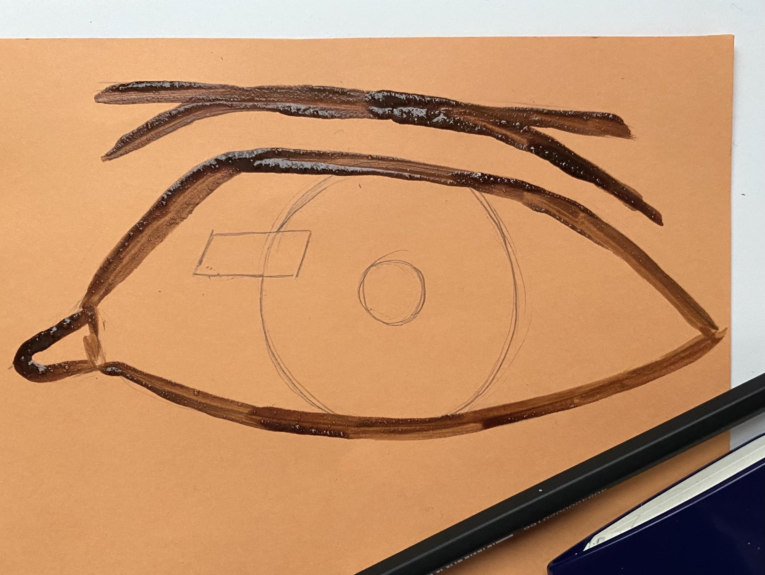 a close up of a drawing of an eye