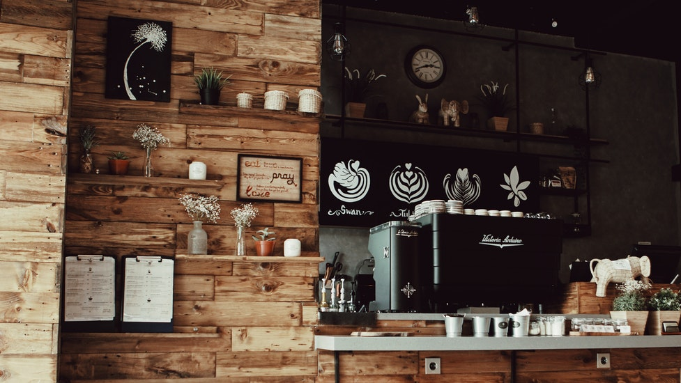 the inside of a coffee shop