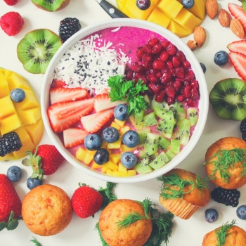 many different types of healthy food on a plate