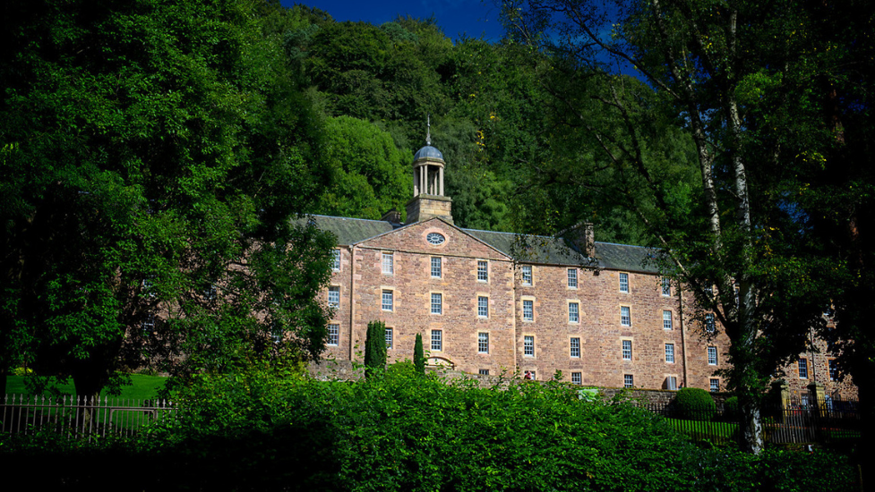 a castle with a clock at the top of a lush green forest