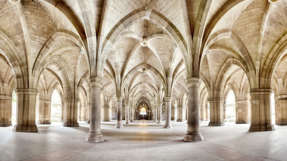 a large stone hallway