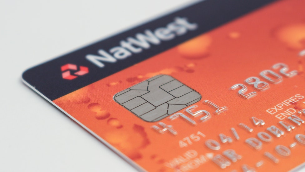 a close up of a bank card