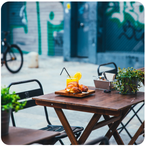 a table with food and drinks on