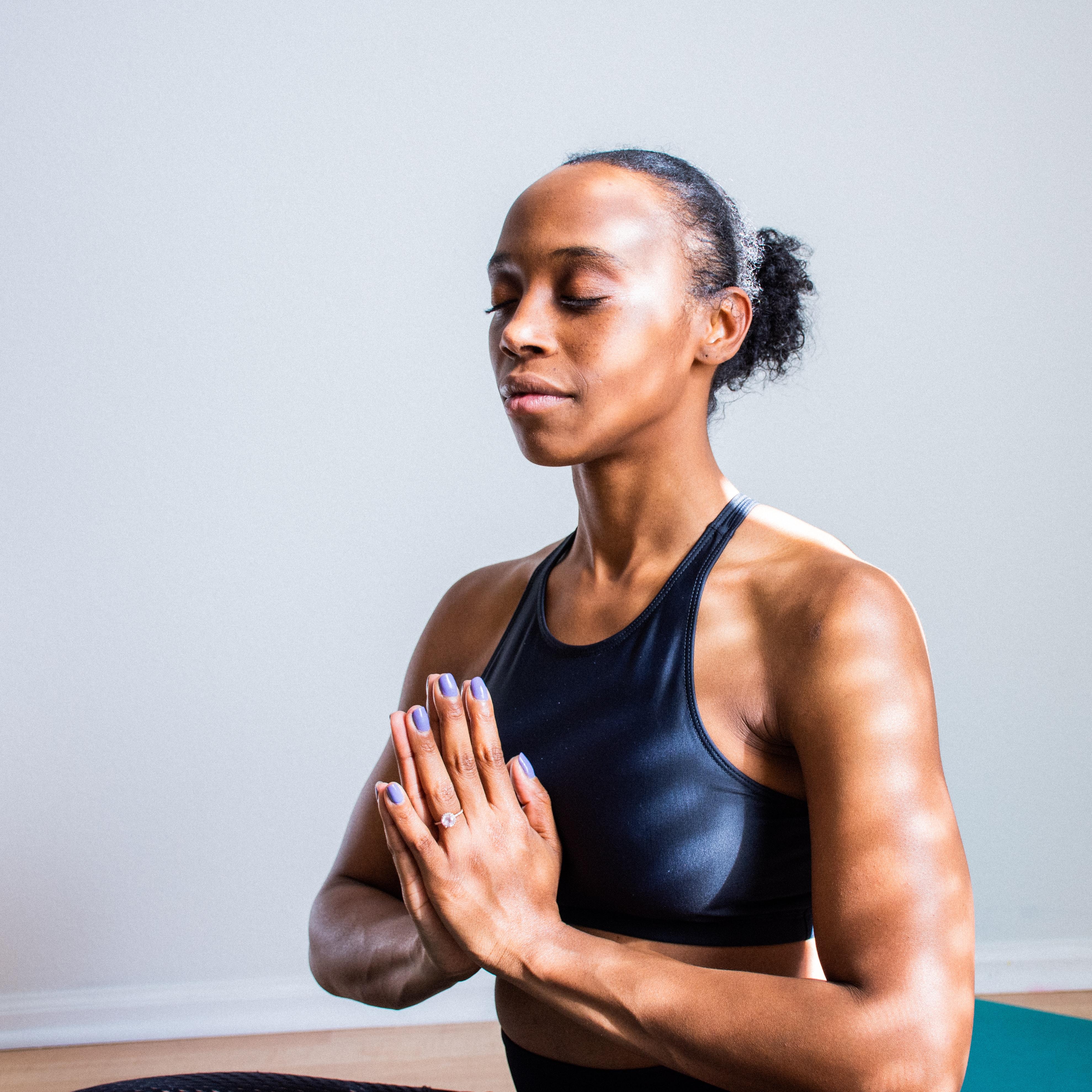 a person posing yoga