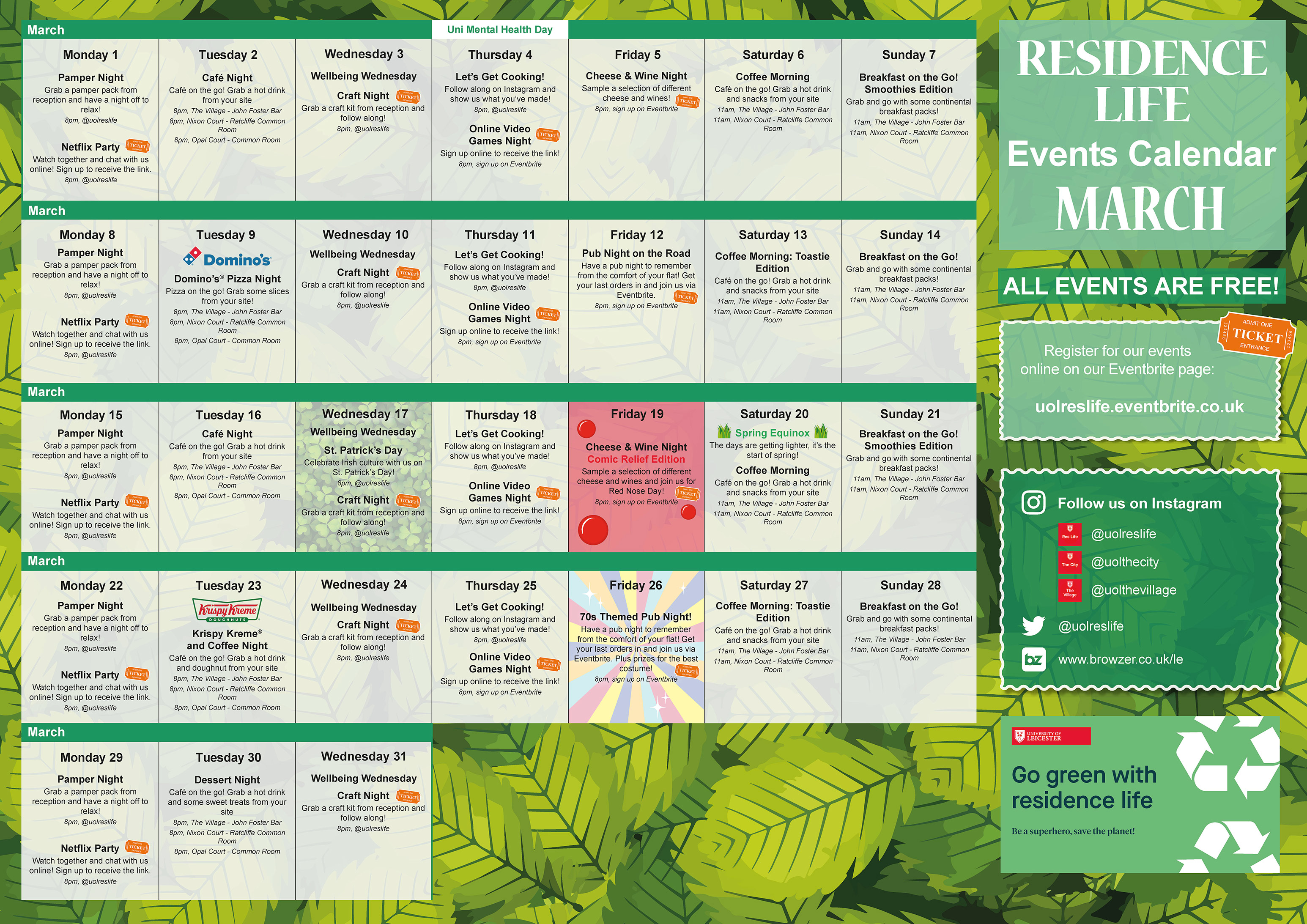 Residence Life March Events Calendar