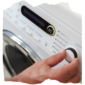 a person using a washing machine