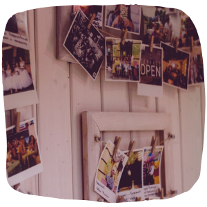 photos pinned to a wall