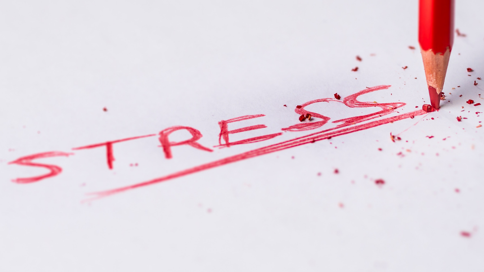the word stress written in red crayon