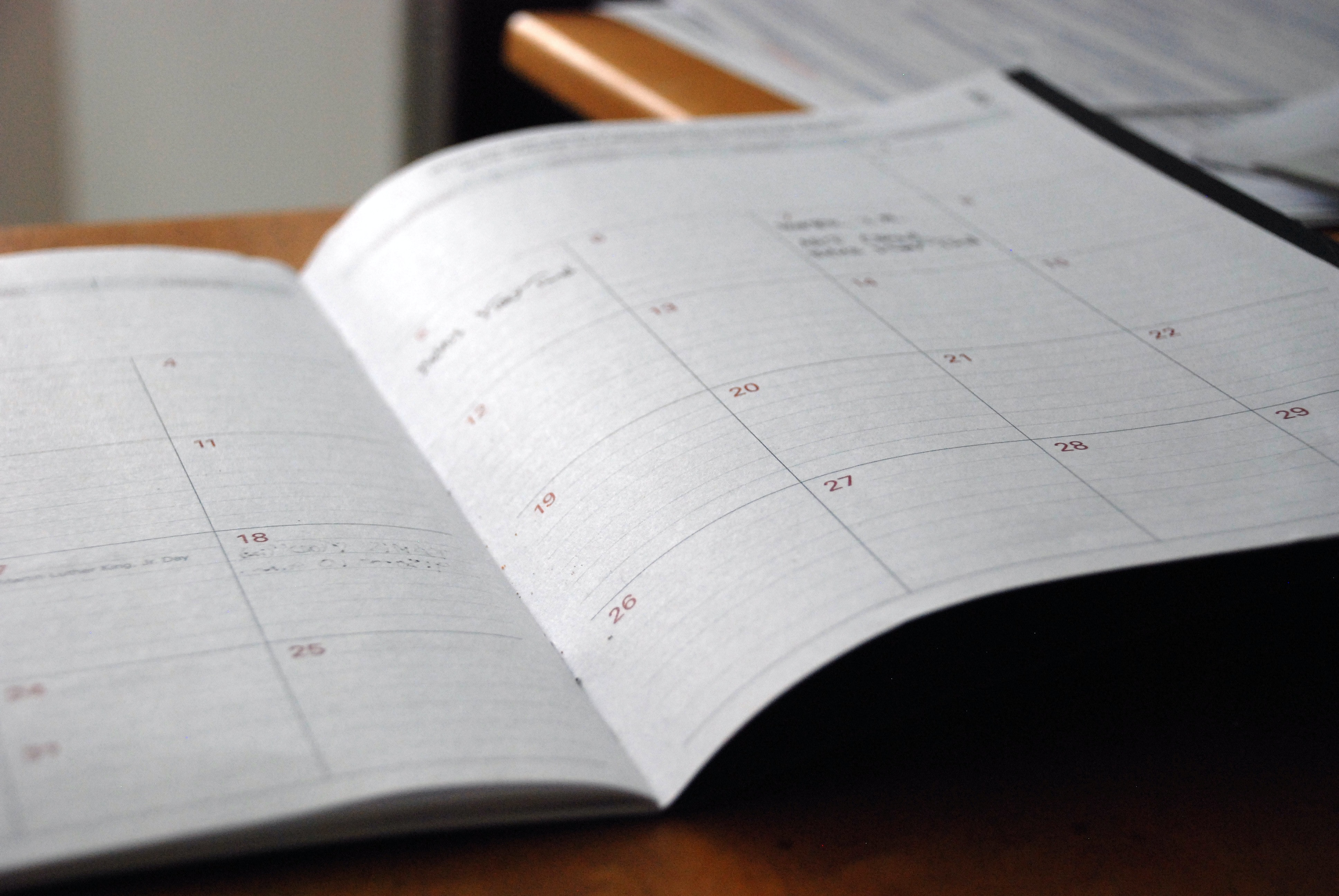 calender open on a table