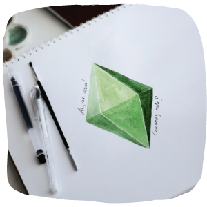 a green diamond drawing