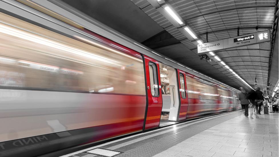 a tube at a train station