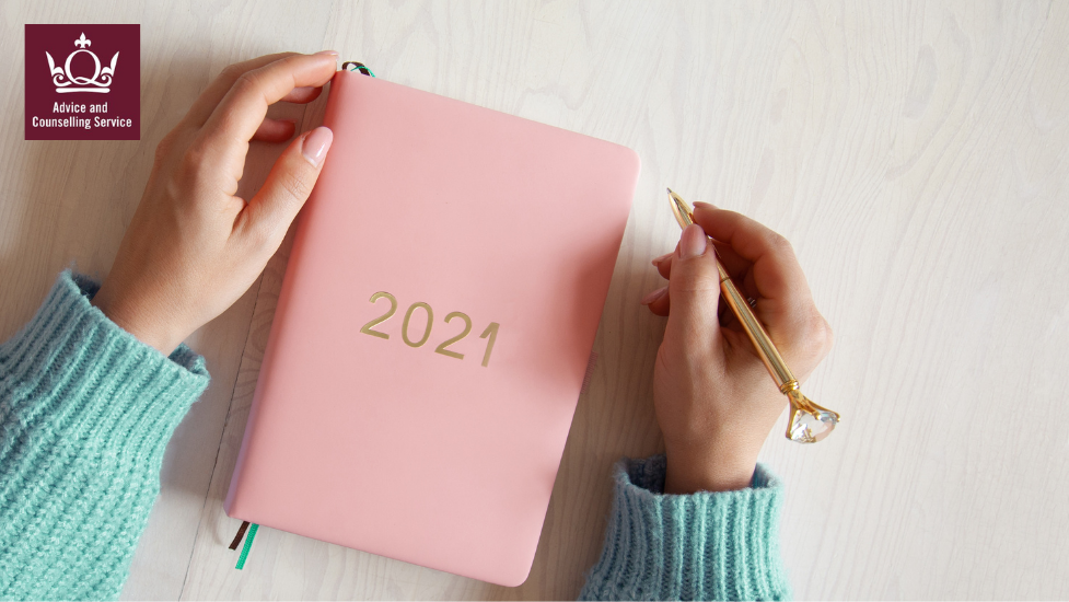 a pink 2021 diary book