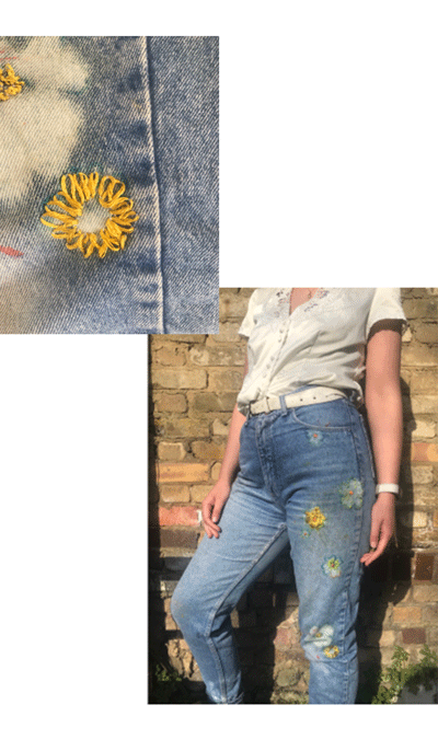 Kirsty's bleach an embroidered jeans