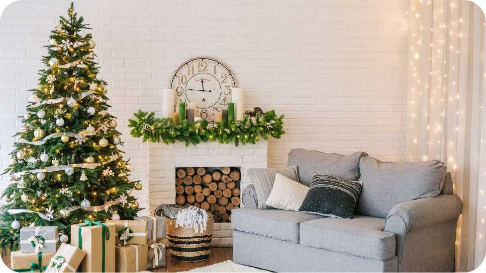 a living room filled with Christmas decorations