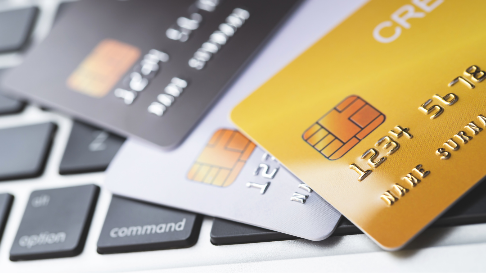 a close up of credit cards