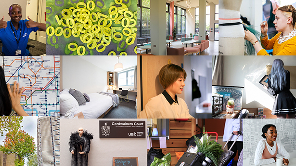 A collage of hall images with students and staff
