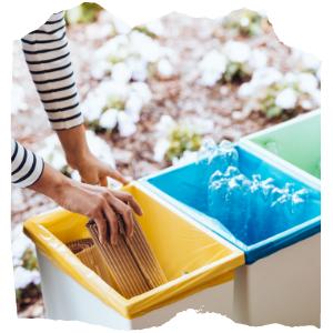 a person putting cardboard in the bin