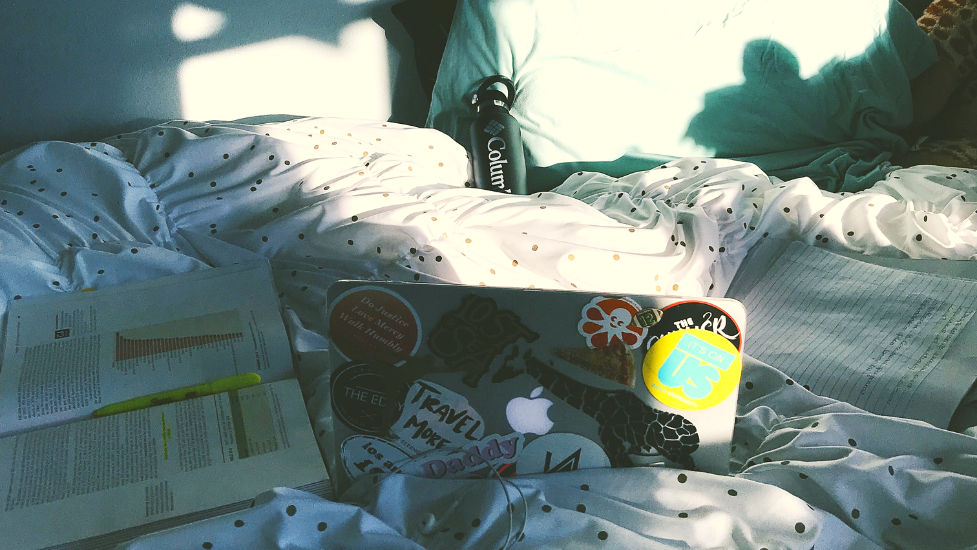 a group of items on a bed