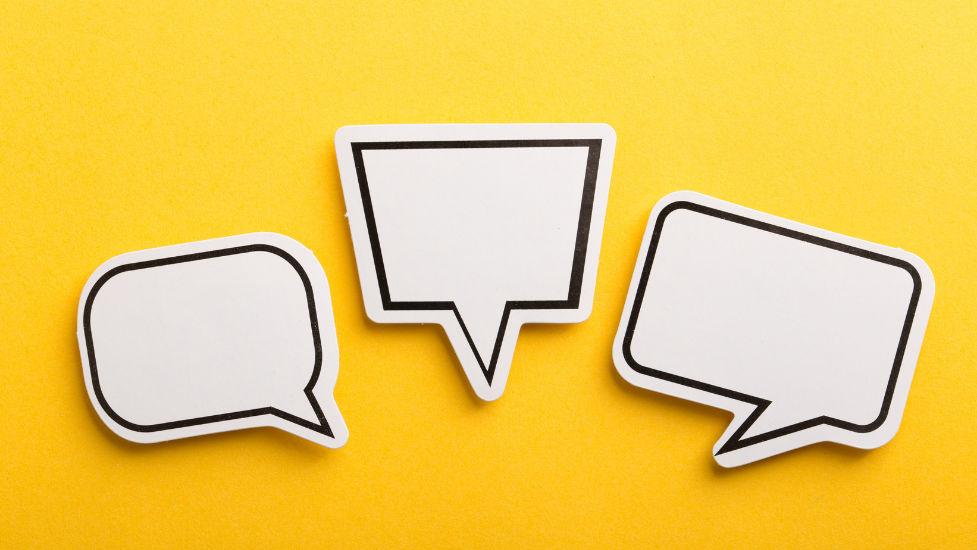 speech bubbles icons on a yellow background