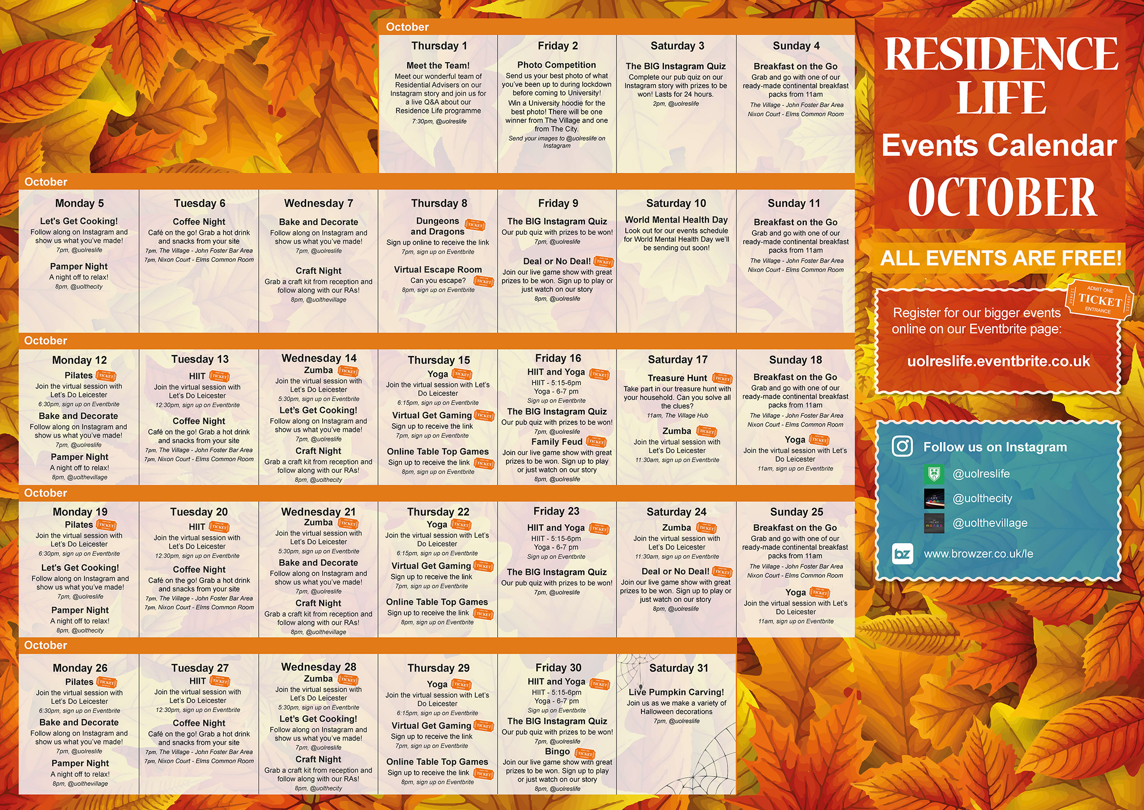 Residence Life October Events Calendar