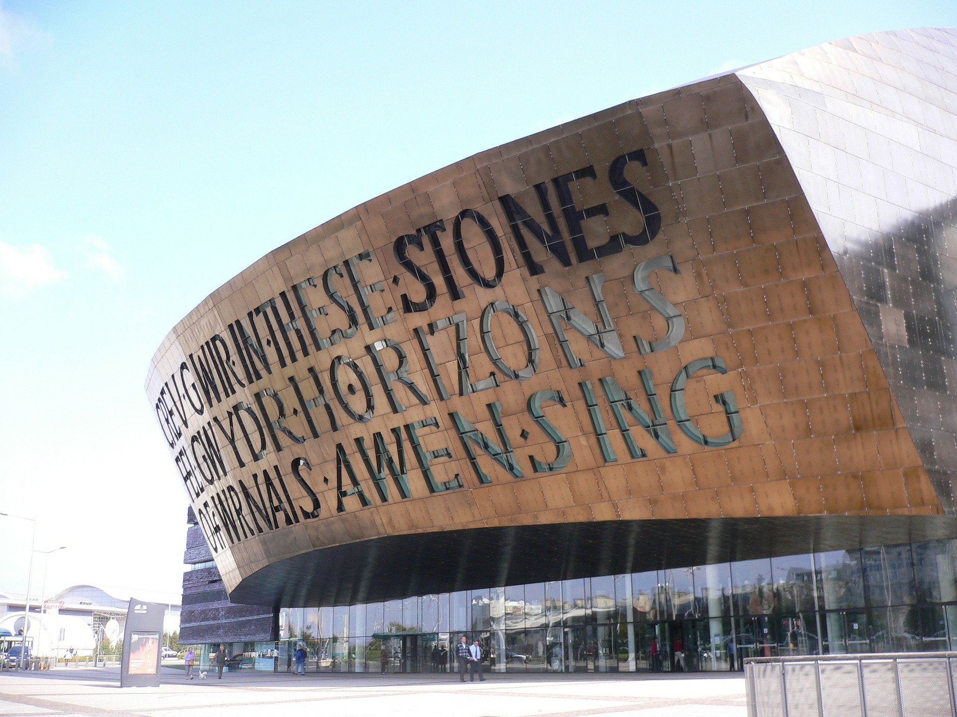 a sign on the side of Wales Millennium Centre