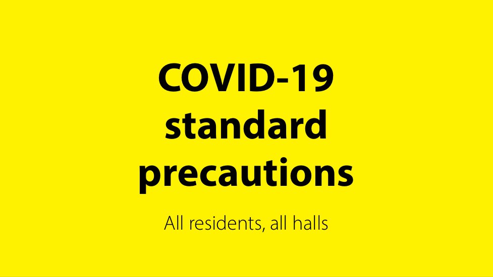 Text on yellow background: COVID-19 standard precautions