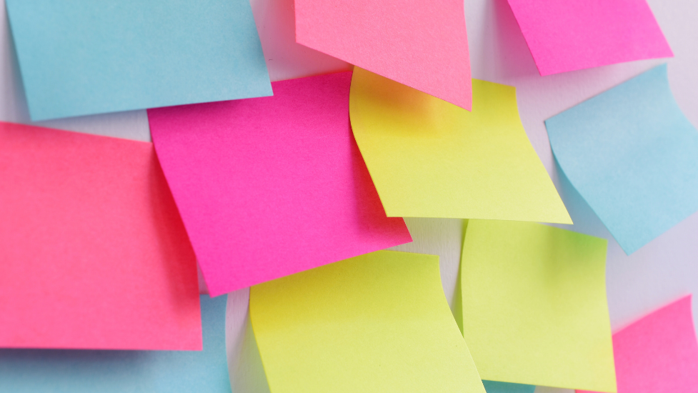 different coloured post-it notes