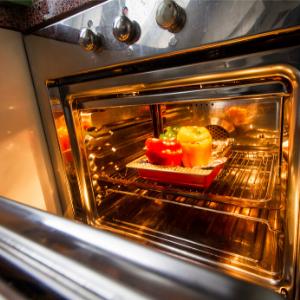 a close up of an open oven door