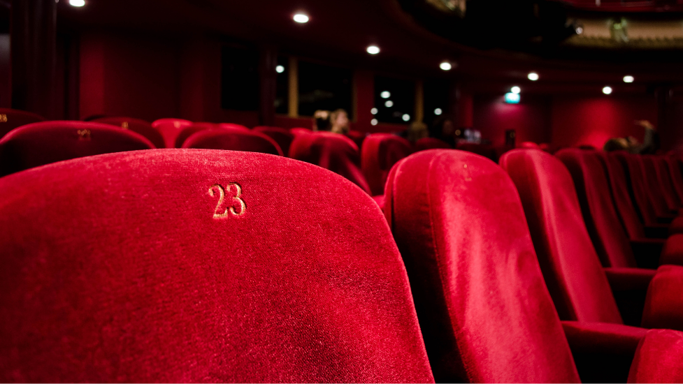a close up of a chair at the theatre