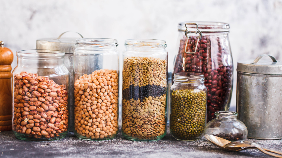 nuts and lentils in jars