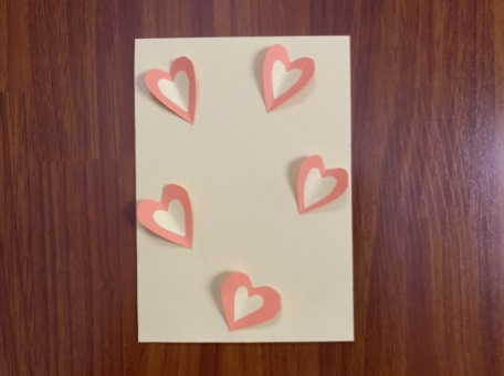 card with paper hears