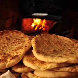 a close up of a flatbread