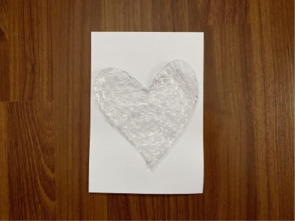 card with bubble wrap heart