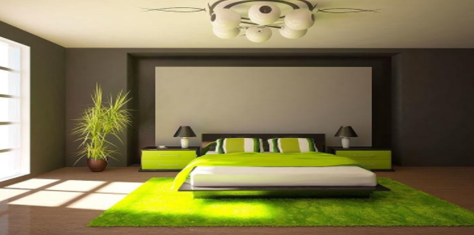 a bedroom with a green light