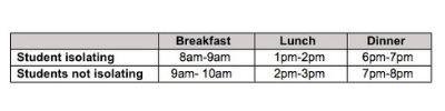 a screenshot of a schedule