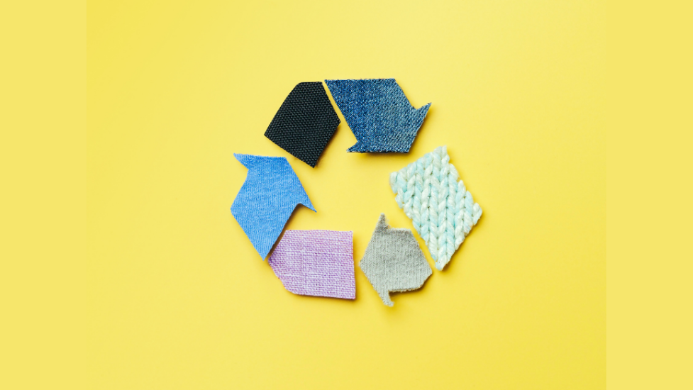 a recycle symbol made of different materials