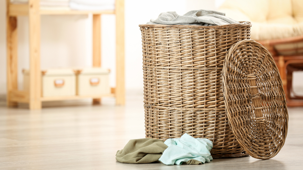 a close up of a laundry basket