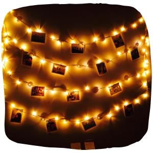a close up of fairy lights
