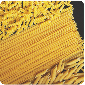 a close up of some different shaped pasta