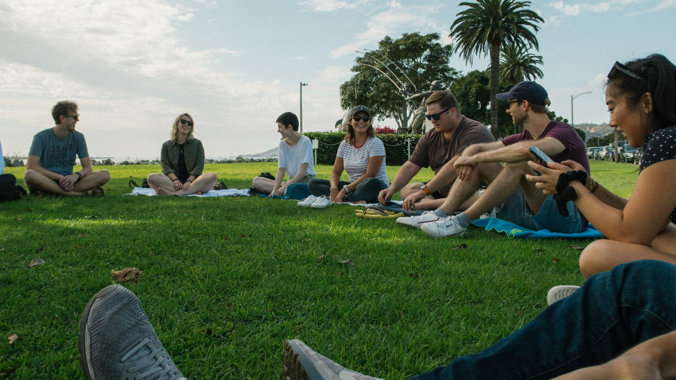 a group of people sitting on the grass