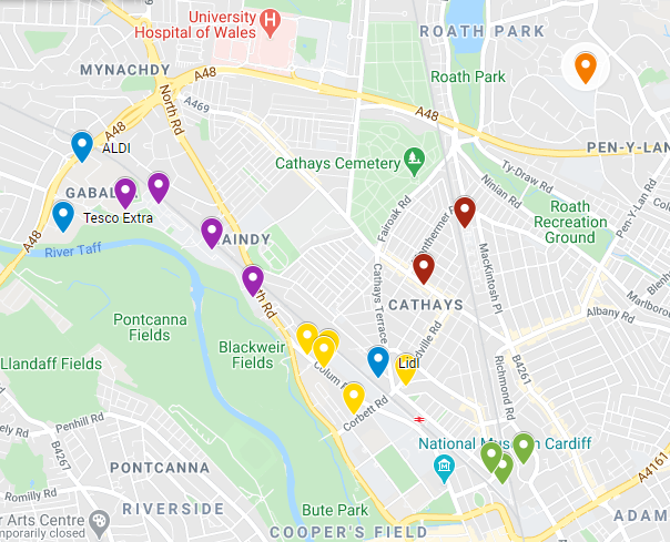 a close up of a map of Cardiff