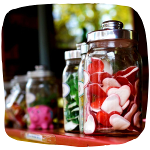 a close up of some sweets in a jar