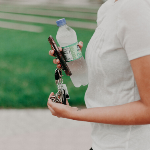 person holding a water bottle