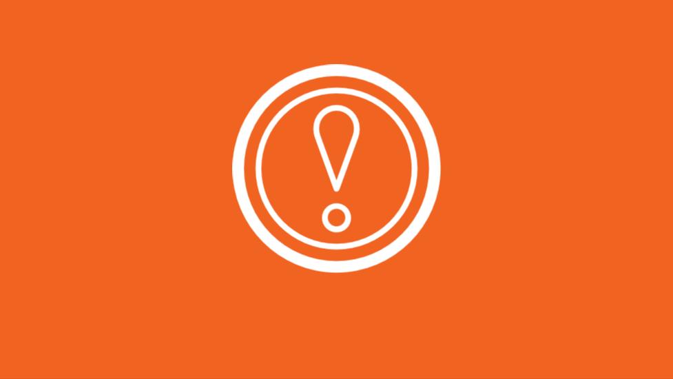 exclamation mark on orange background