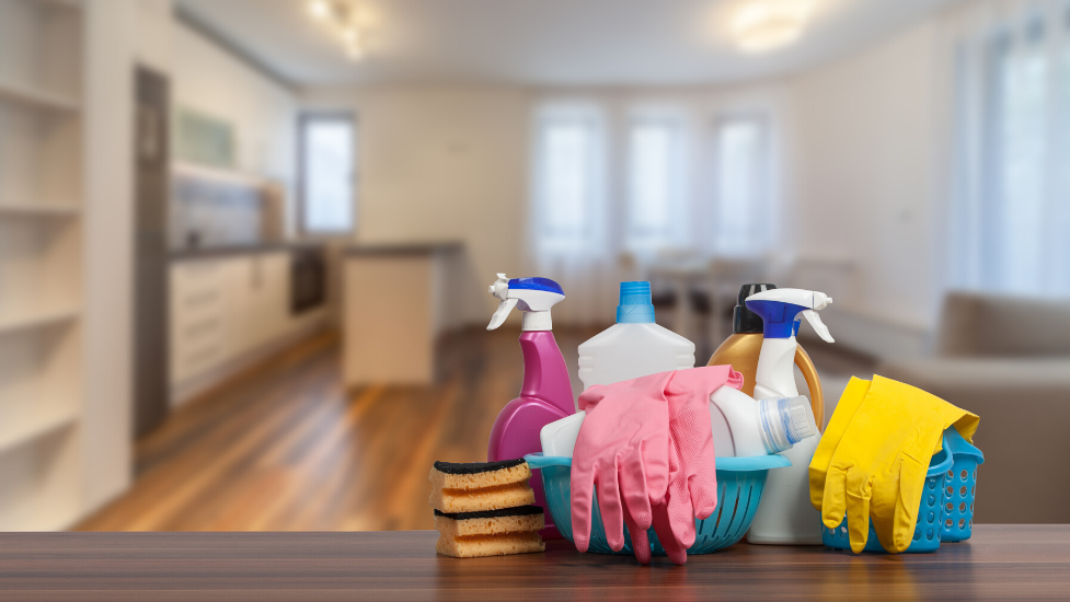 cleaning products sat on a table