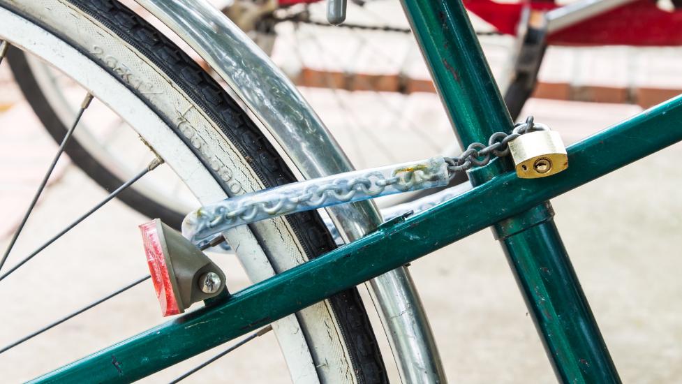 a close up of a bike lock