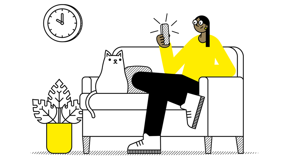 illustration of student checking phone while sat on sofa