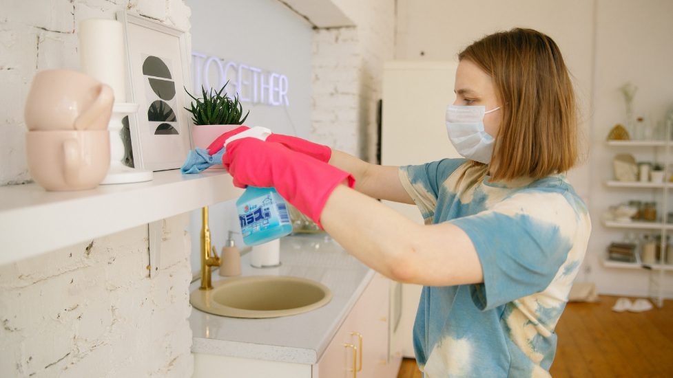 a person cleaning